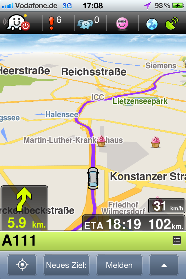 Routen in Waze